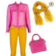 Сочетание желтого цвета и розового