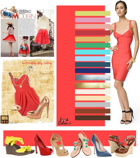 Какие цвета сочетаются с коралловым платьем