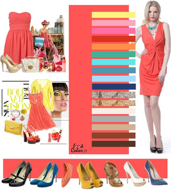С чем сочетается коралловый цвет платья