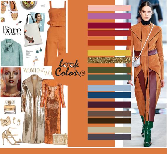 Модный оранжевый цвет PANTONE 16-1350 Янтарное сияние сочетается