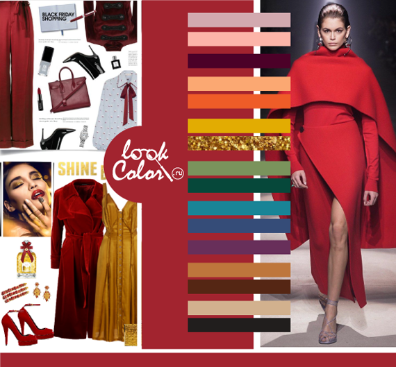 Модный красный цвет PANTONE 19-1662 Самба сочетается