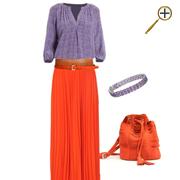 Сочетание оранжевого цвета и сиренево-розового