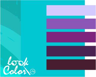 сочетание бирюзового с фиолетовым