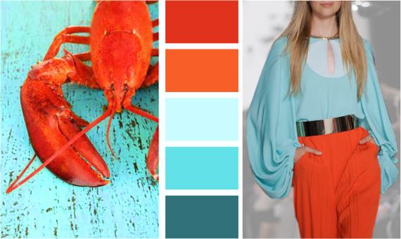 сочетание бирюзового цвета с оранжевым