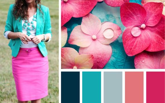 сочетание бирюзового цвета с розовым