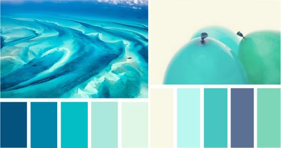сочетание бирюзового цвета с синим