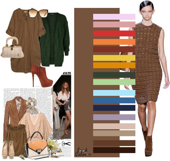Сочетание коричневого цвета с другими цветами Оттенки