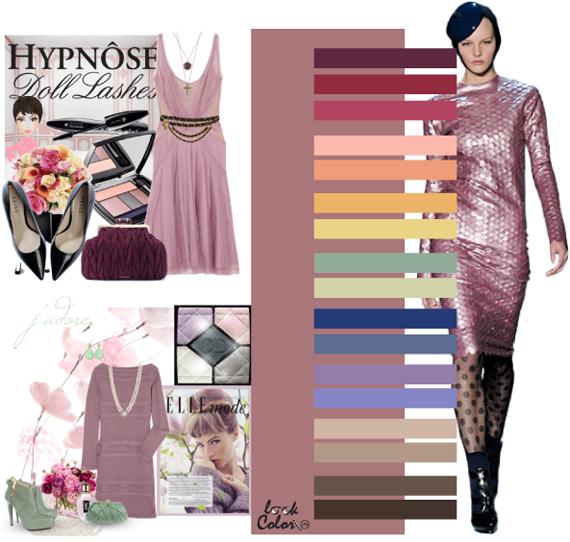Сочетание цветов грязно розовый цвет в одежде