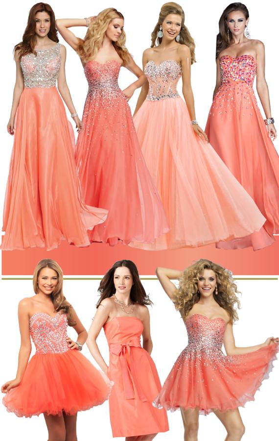 Коралловый цвет вечернего платья