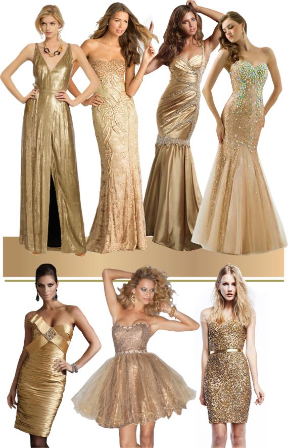 Сочетание цветов золотой платье