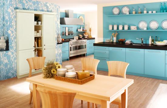 Дизайн кухни фото в голубом цвете