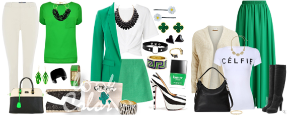 сочетание белого и зеленого цвета в одежде
