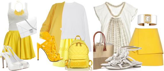 сочетание желтого и белого цвета в одежде