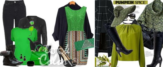 сочетание черного и зеленого цвета в одежде
