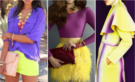 сочетание фиолетового и желтого в одежде