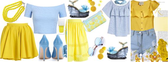 сочетание голубого и желтого цвета в одежде