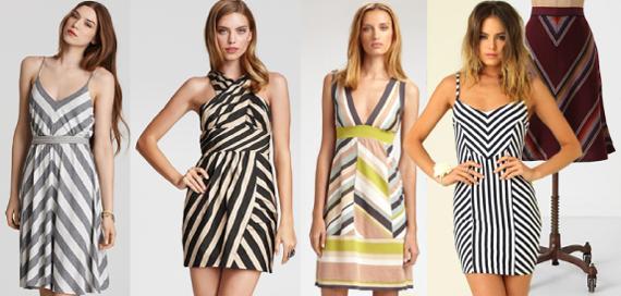 Платья в косую линию