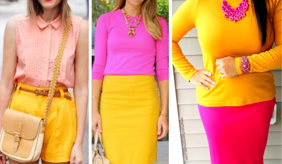 сочетание розового и желтого в одежде