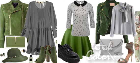 сочетание серого и зеленого цвета в одежде