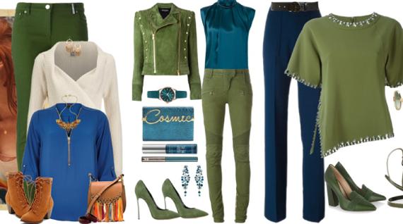 сочетание синего и зеленого цвета в одежде