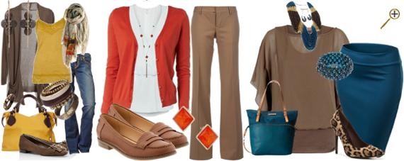 Сочетание коричневого цвета в одежде