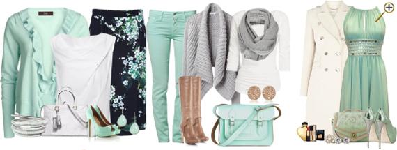 Сочетание холодного зеленого цвета в одежде