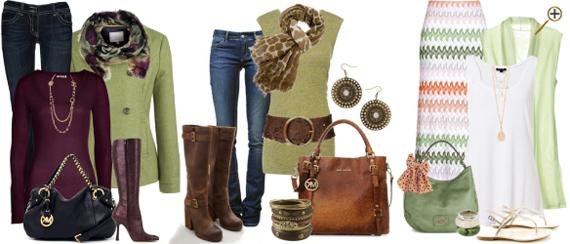 Сочетание теплого зеленого цвета в одежде