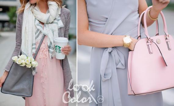 сочетание серого и рогозового цвета в одежде 1