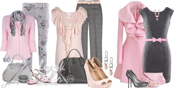 сочетание серого и рогозового цвета в одежде 3