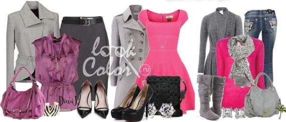 сочетание серого и рогозового цвета в одежде 5