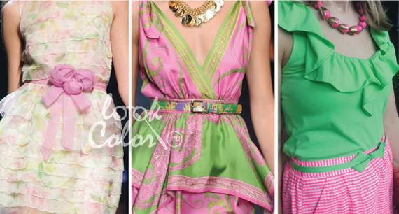 сочетание зеленого и розового в одежде 1