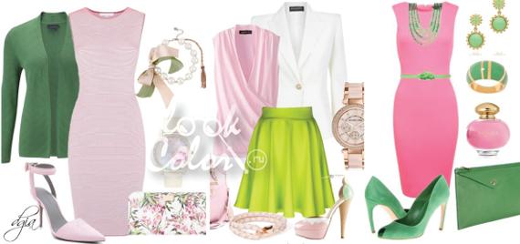 сочетание зеленого и розового в одежде 2