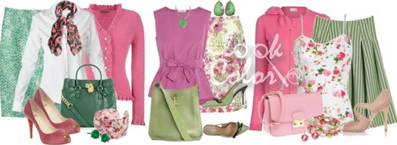 сочетание зеленого и розового в одежде 3