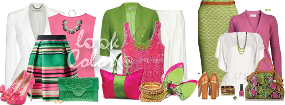 сочетание зеленого и розового в одежде 4