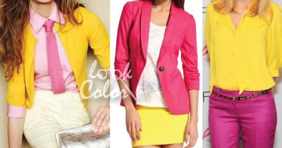 сочетание желтого и розового цвета в одежде 1