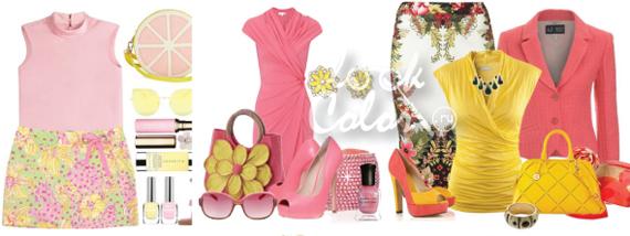 сочетание желтого и розового цвета в одежде 2