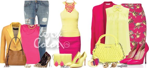 сочетание желтого и розового цвета в одежде 3