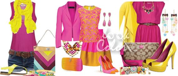 сочетание желтого и розового цвета в одежде 4