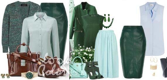 сочетание зеленого и голубого цвета в одежде
