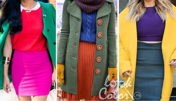 многоцветные сочетания с зеленым в одежде