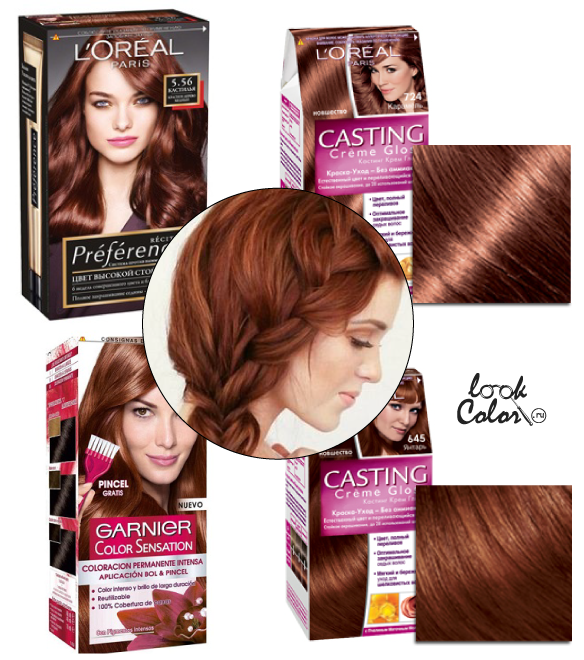 Темно медный цвет волос краска фото