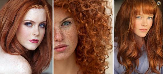 Натурально рыжие оттенки волос