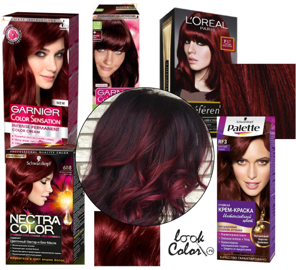 темный баклажановый цвет волос