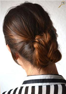 Поднятые пучки темных волос