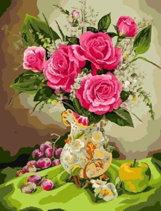 Картина по номерам. Букет розовых роз