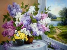 Картина по номерам Букет у окна