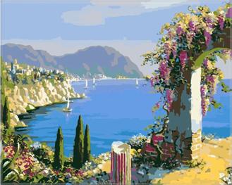 Картина по номерам. Цветочная арка у моря