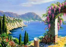 Картина по номерам Цветочная арка у моря