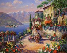 Картина по номерам Цветочный дворик с лестницей
