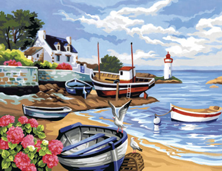 Картина по номерам Дом с лодками у моря